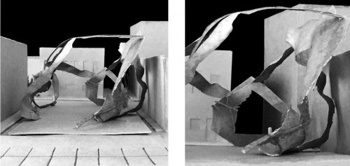 Two photos of a model made from torn paper