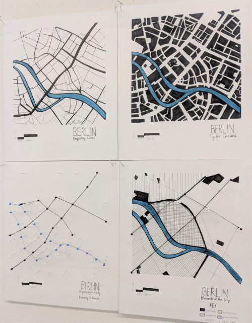 Urban analysis drawings of Berlin pinned up featuring the Spree River