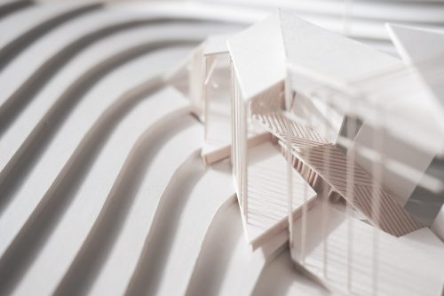 aerial view of topo model and building model in white