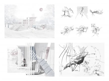 perspective renderings and drawings on a board
