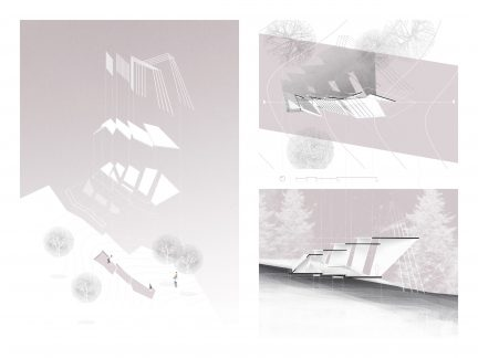 axonometric, plan, and section drawings in pink, black, and white