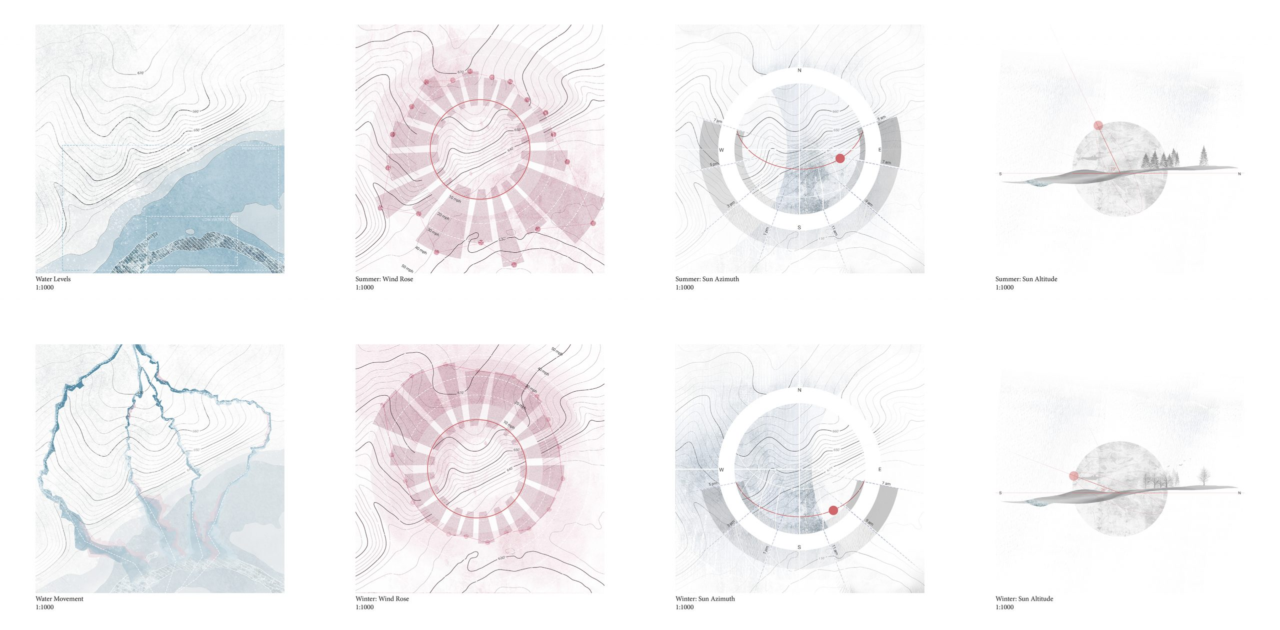 site diagrams in blue and pink hues