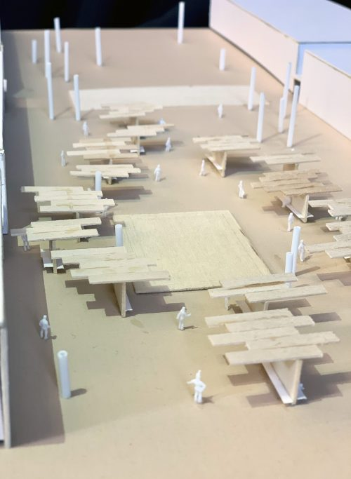 Model of design intervention in Chandigarh Sector 17, with covered pavilions