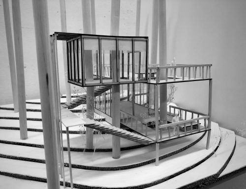 black and white image of building model