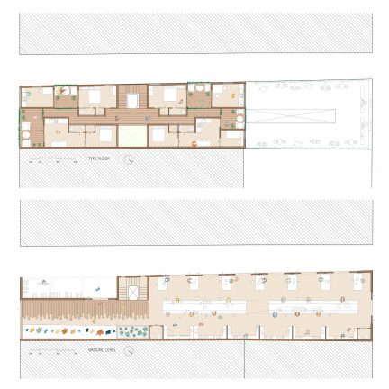 Floor plans of linear building