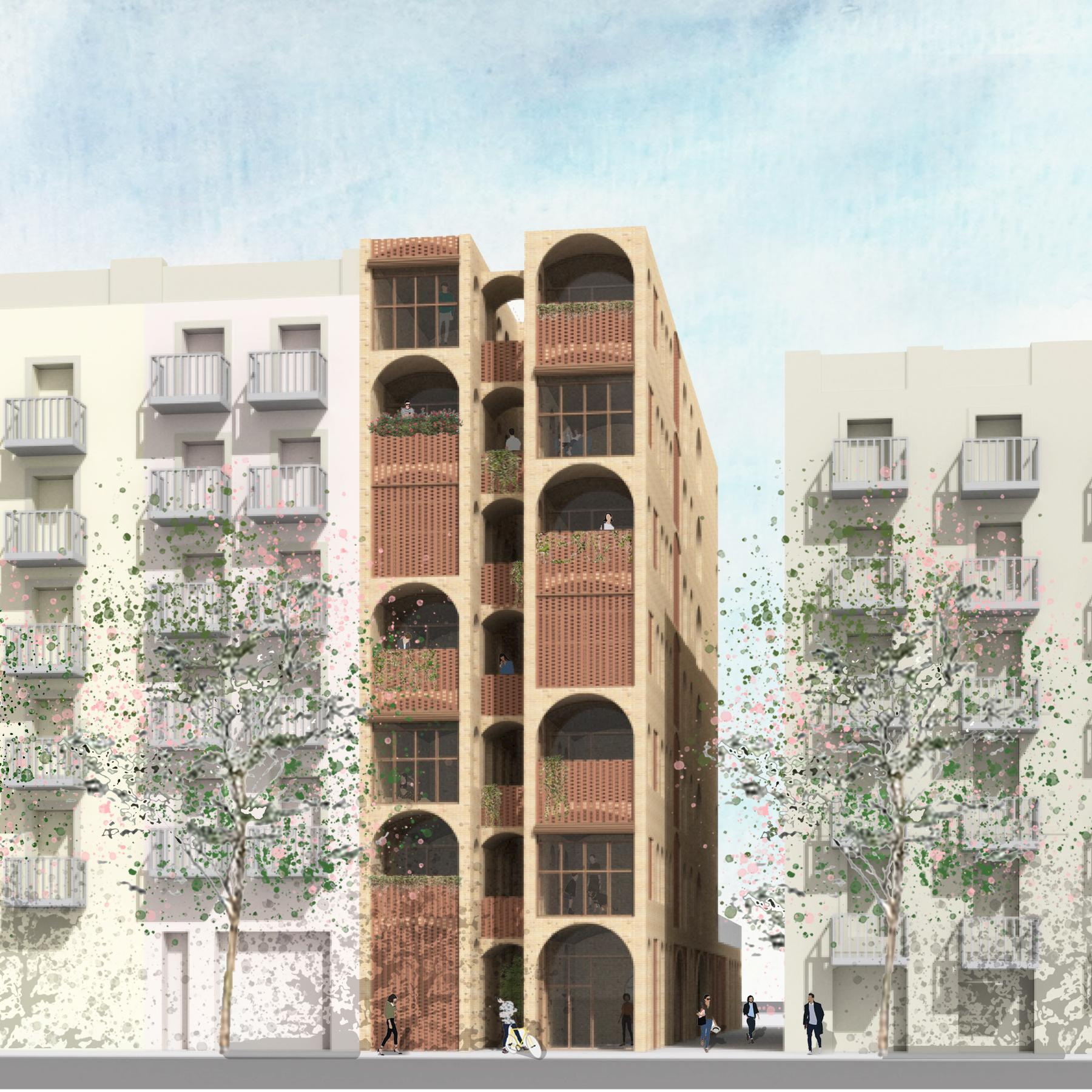 Exterior rendering showing arched openings in facade