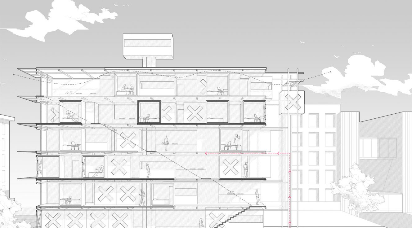 Section perspective of building in black and white