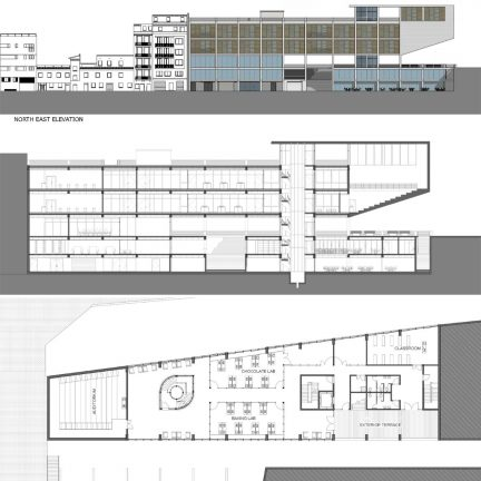 elevation, section, and plan drawings