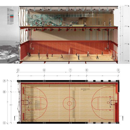 detial section and plan, rendered