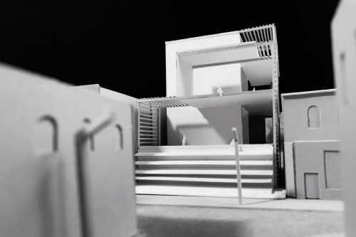 Side view of model with masses and voids
