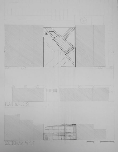 Plan and section drawings of angled design
