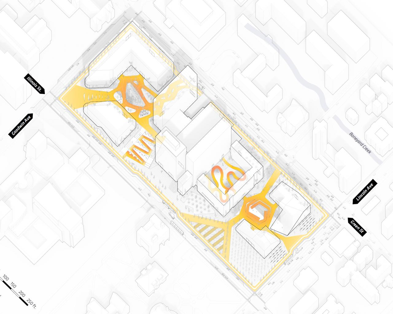 Oblique site drawings with orange and yellow highlights