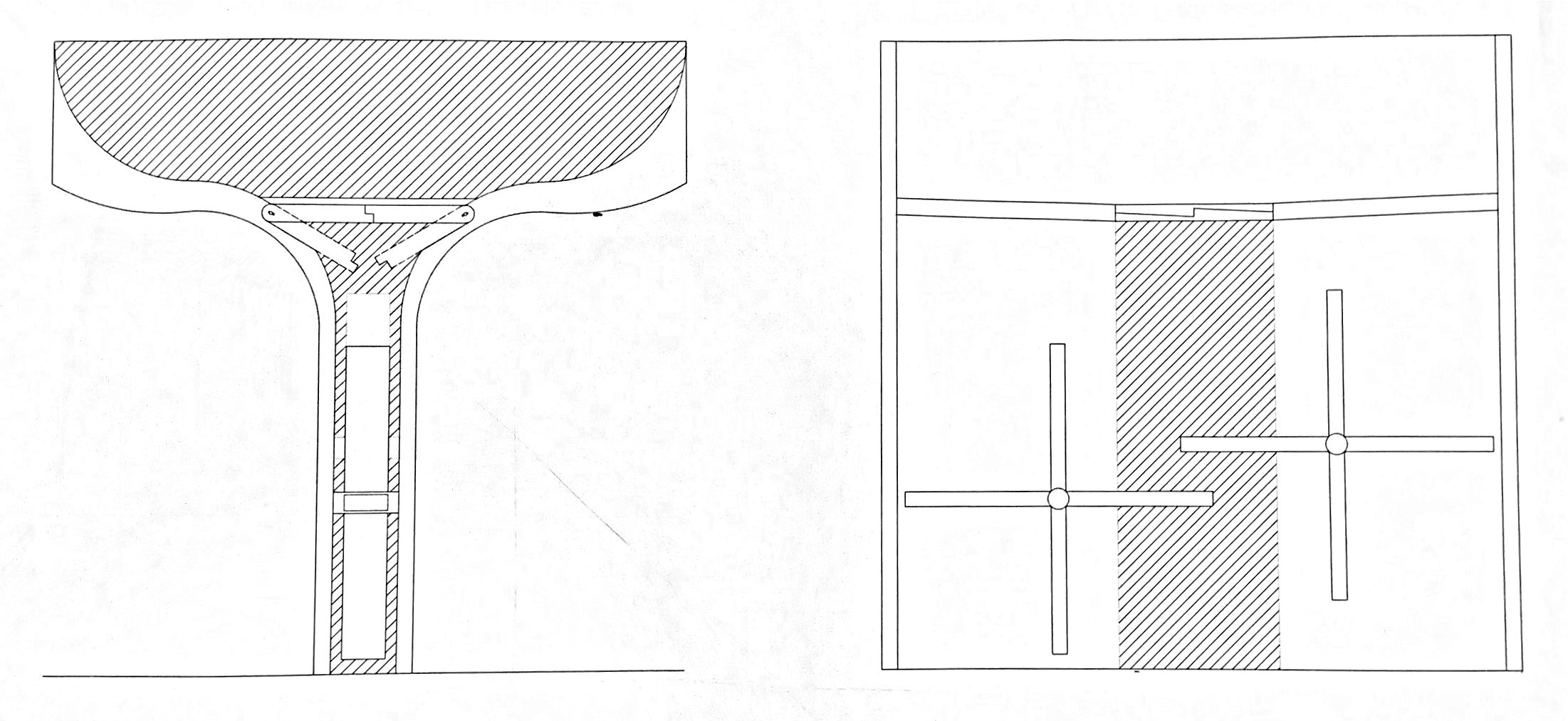 Section drawing of roof that collects water
