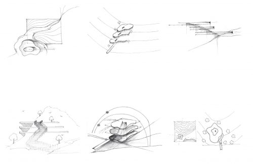 six sketches in black pen
