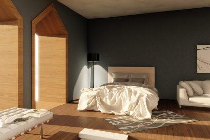 Interior rendering, hotel room