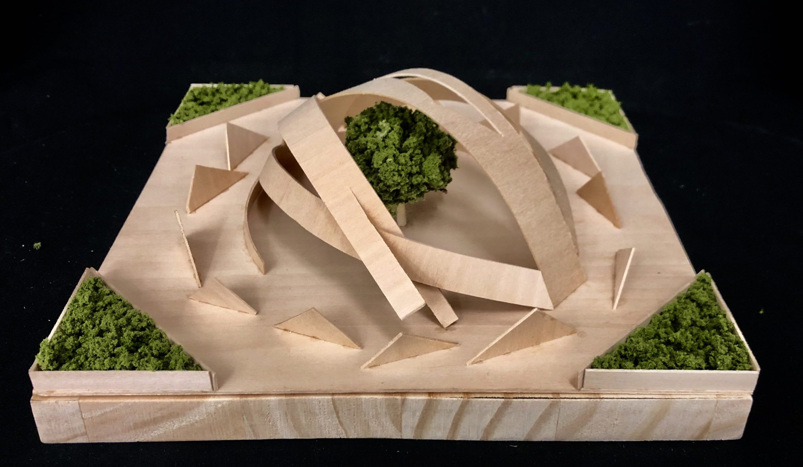 Wood model of curved surfaces