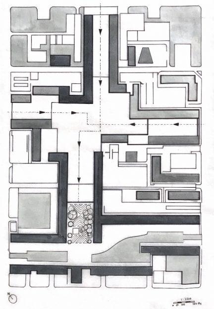 Site plan of design intervention in Chandigarh, Sector 17