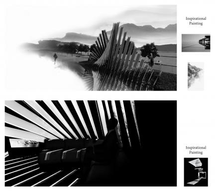 black and white renderings of a striated building form