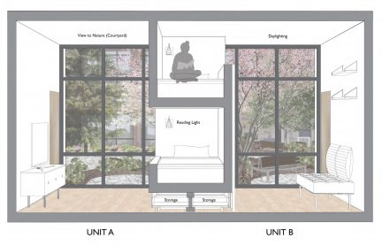 Section perspective of two adjoining dorm rooms