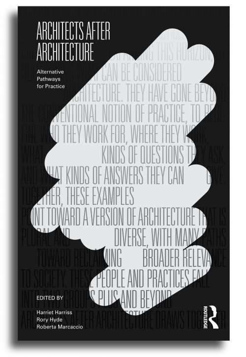 black and white book cover for Architects After Architecture