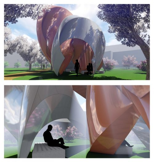 curved building form renderings with reflective copper material