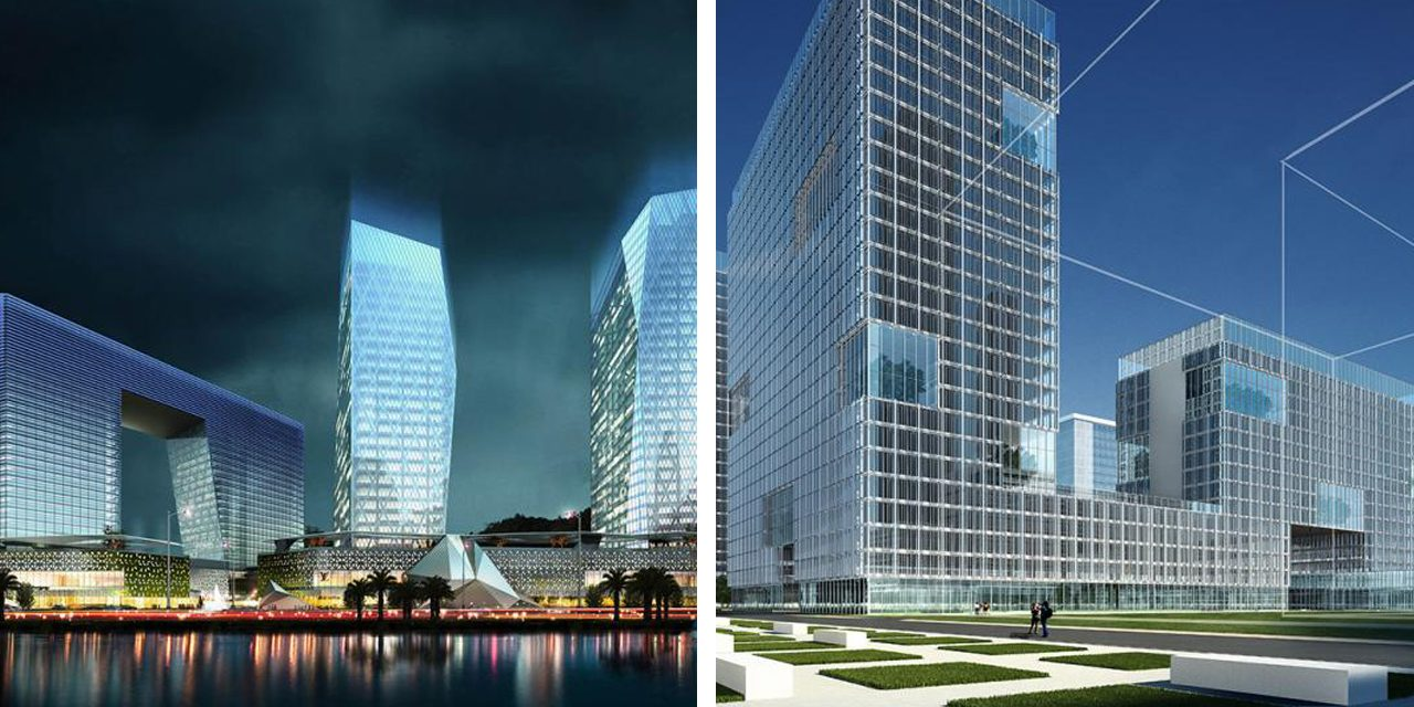 two renderings of buildings with gridded facades