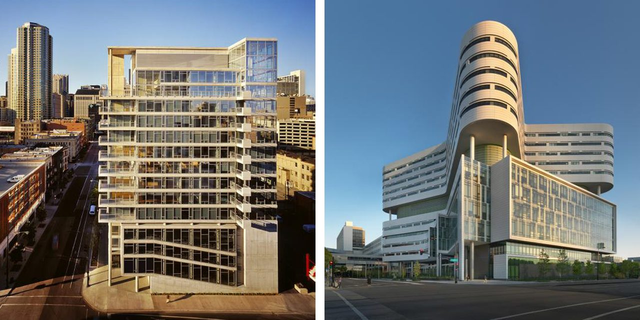 images of a concrete housing building and rush medical center in chicago