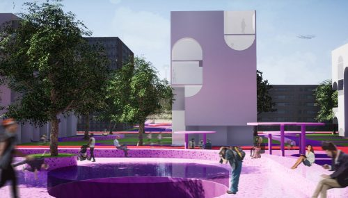 perspective showing pink concrete on ground and white building design beyond