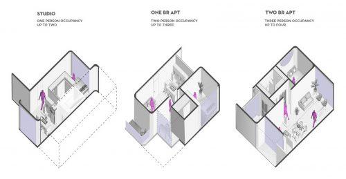 three cut-away axons of apartment designs
