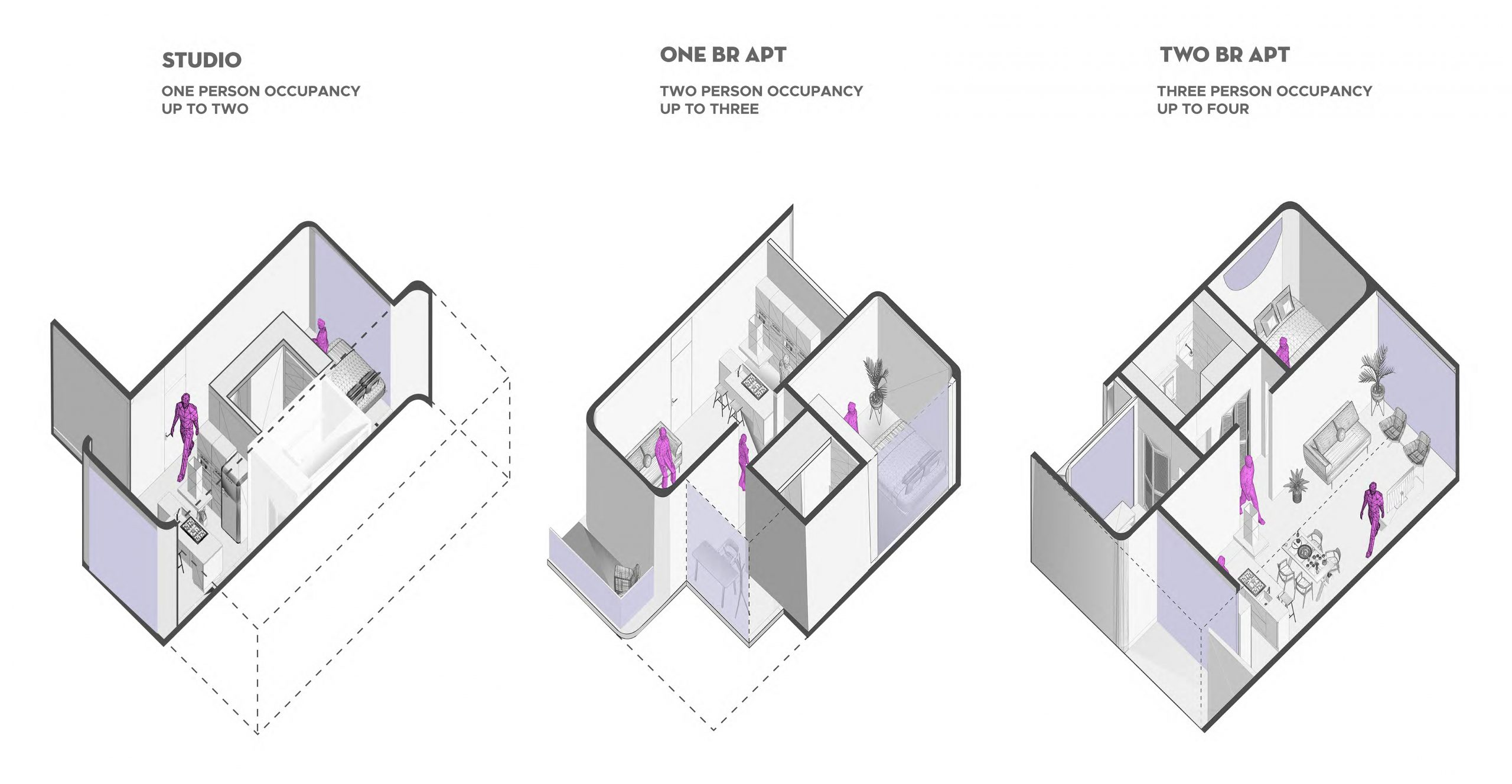 three cut-away axons of apartment designs