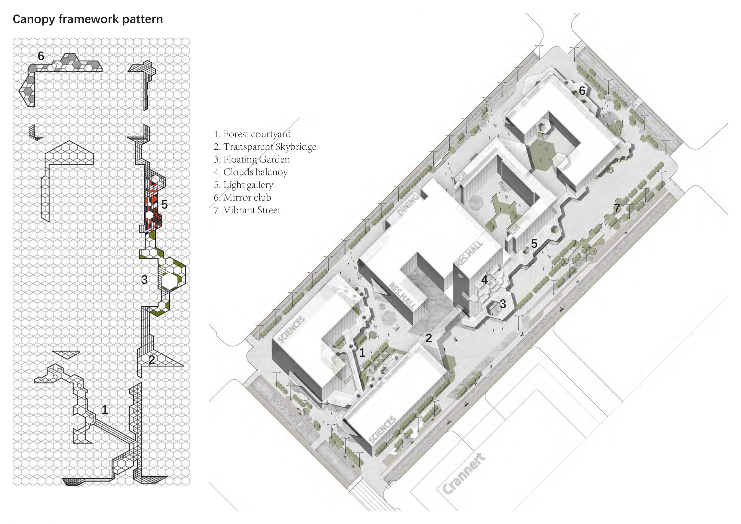 Plan and oblique site drawing with hexagonal grid underlay