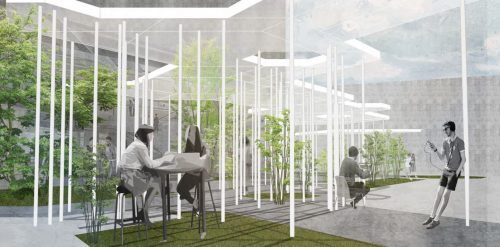 perspective of hexagonal grid canopy design