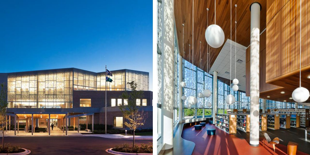 images of fountaindale library exterior and interior