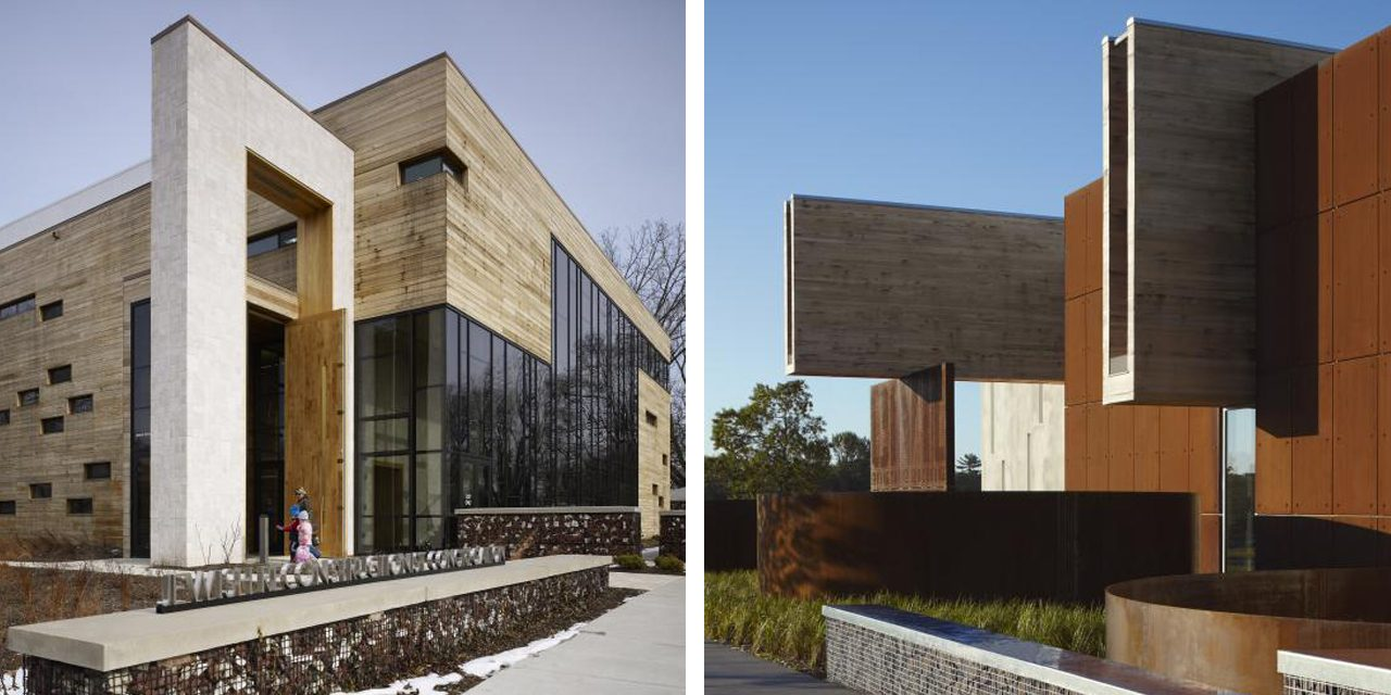 images of two building exteriors made of stone and wood