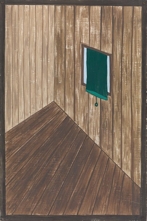 painting of brown wood wall with turquoise window shade