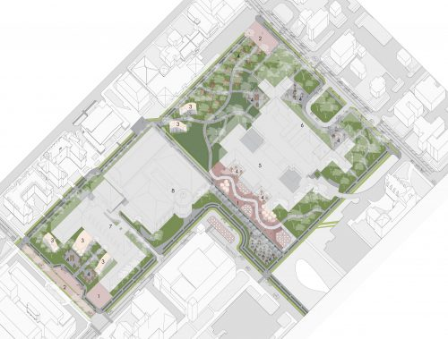 oblique site drawing with green and pink spaces highlighted