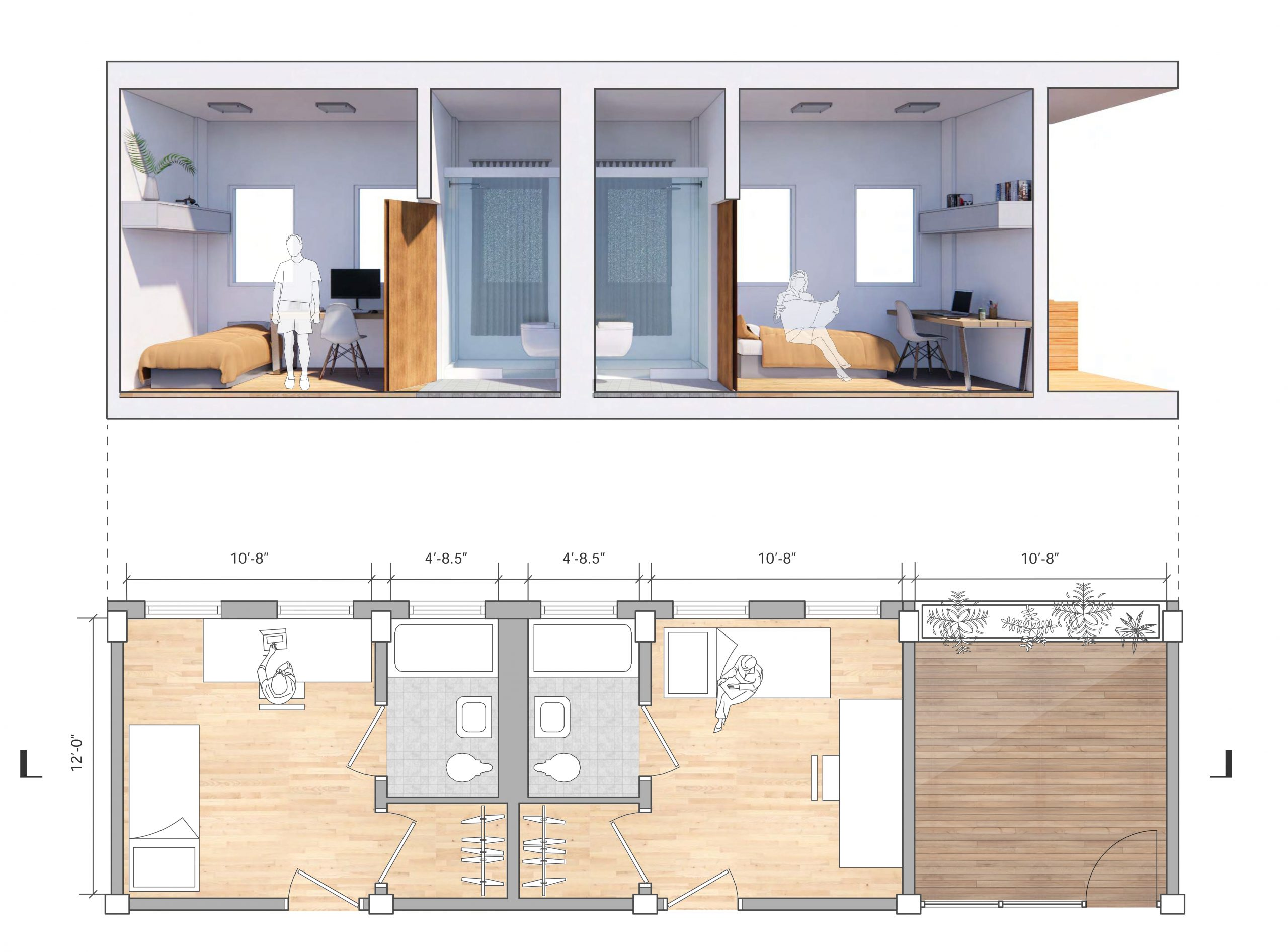 rendered section and plan of new dorm room designs