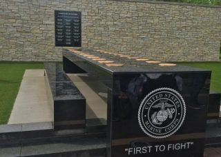 closeup of granite memorial table