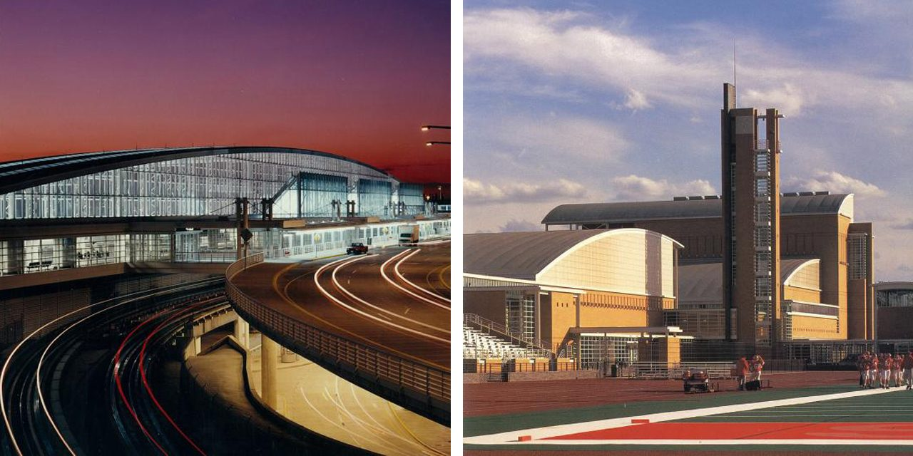 images of o'hare airport and perry community village building exteriors