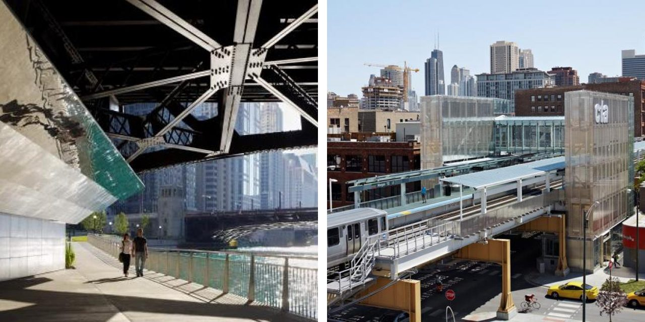 images of the chicago riverwalk and morgan street CTA station