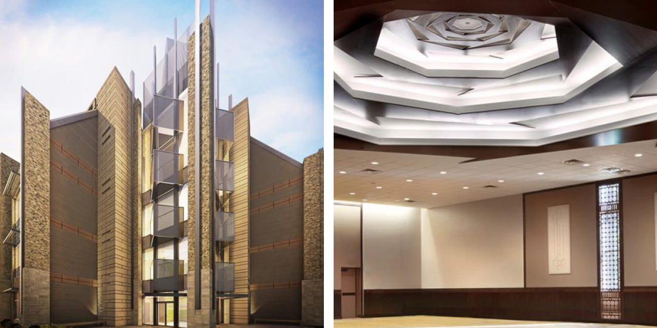 exterior rendering with glass and brick and interior with light ceiling