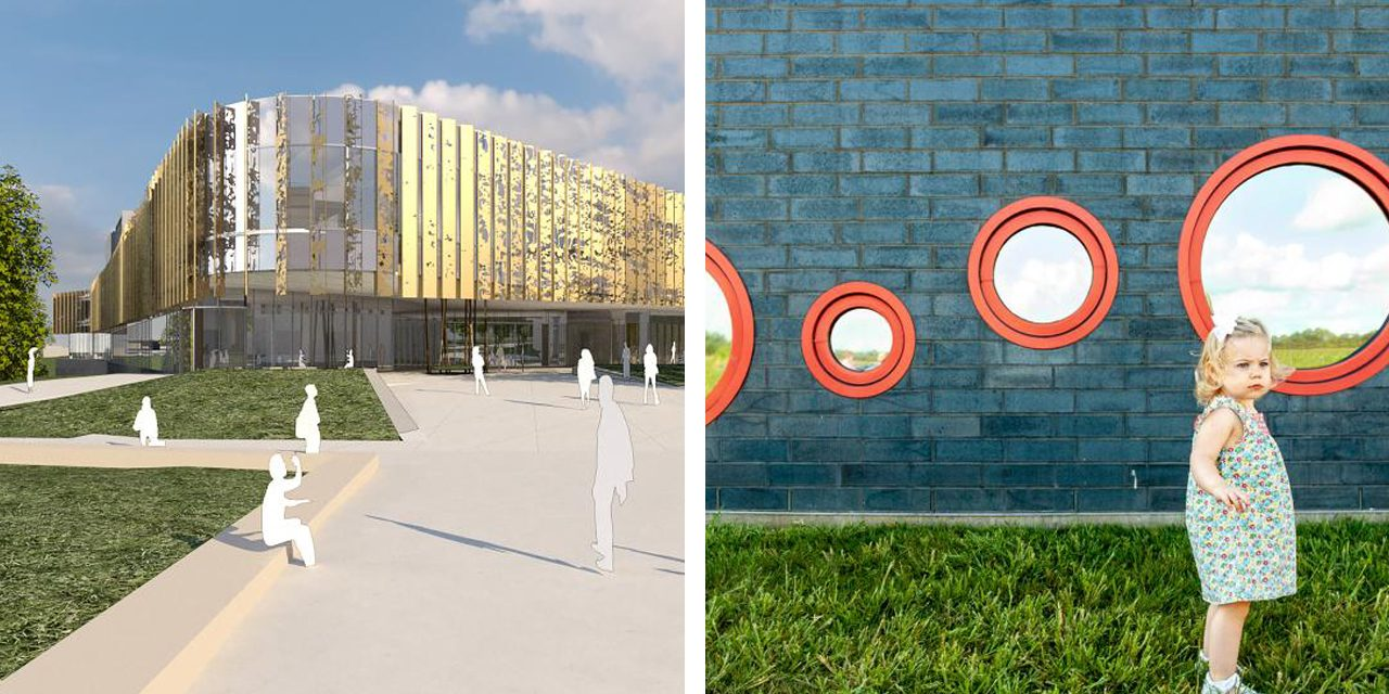 Rendering of student center and photo of young girl in elementary school prototype landscape