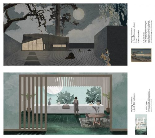 elevation and interior renderings using abstracted perspective