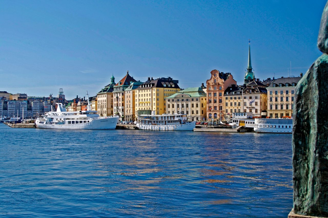 buildings in stockholm with water in foreground