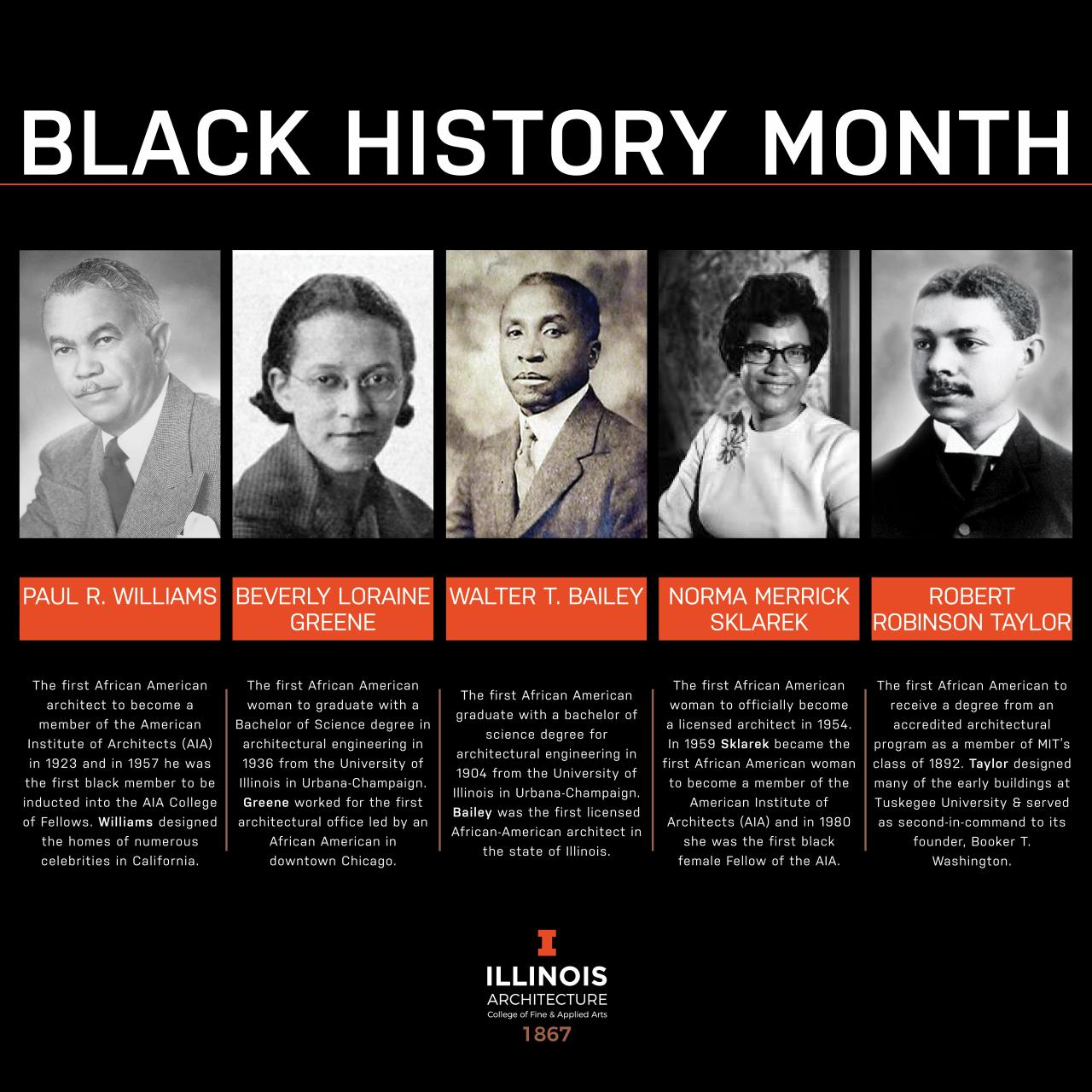 graphic celebrating black history month, with five black architects and their biographies