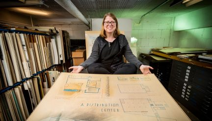 Marci Uihlein with student drawing