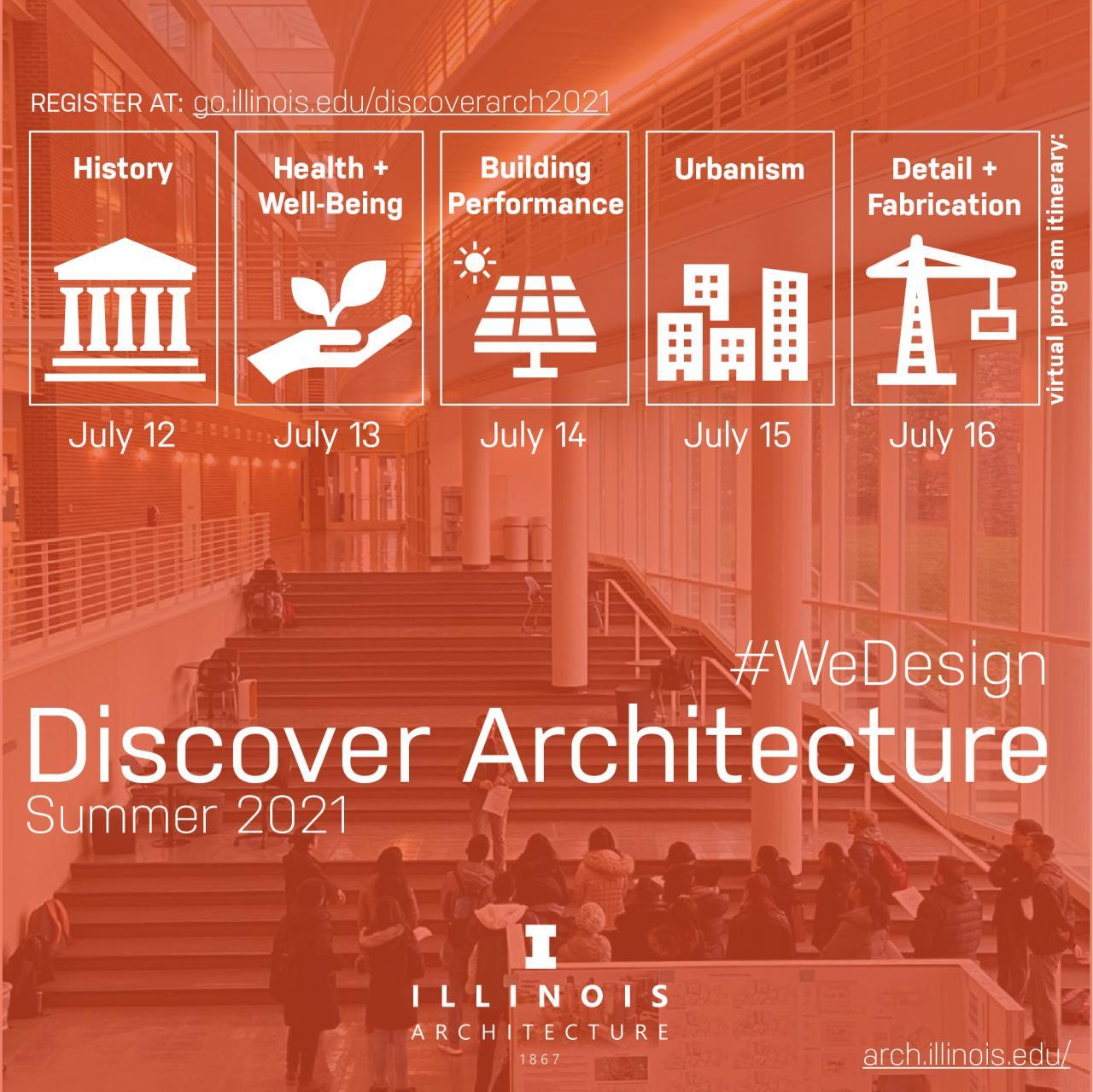 Discover Architecture orange graphic with program schedule