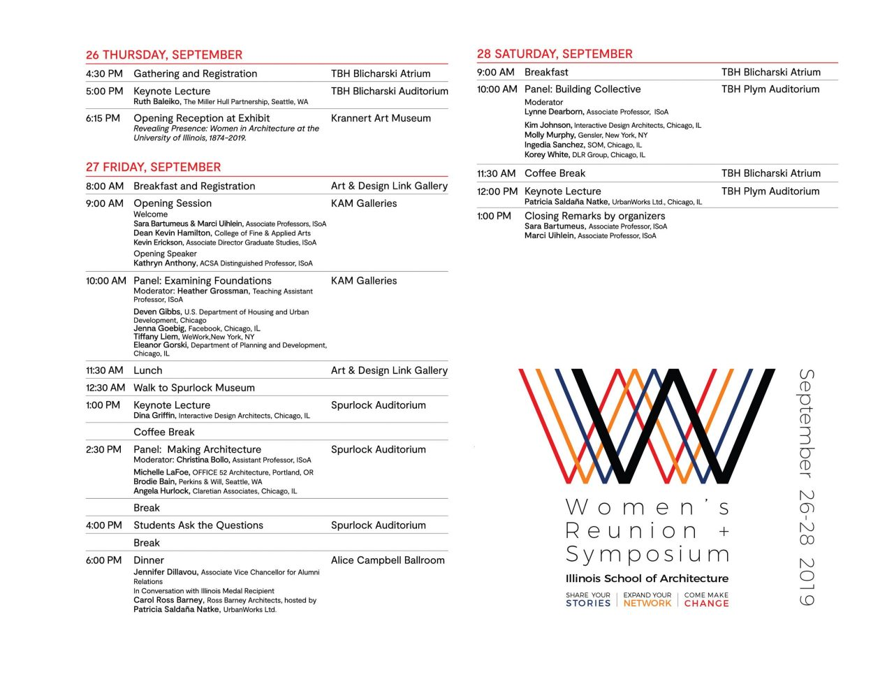 image of the speaker schedule for the symposium