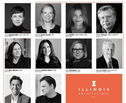 Grid of Alumni Board headshots in black and white