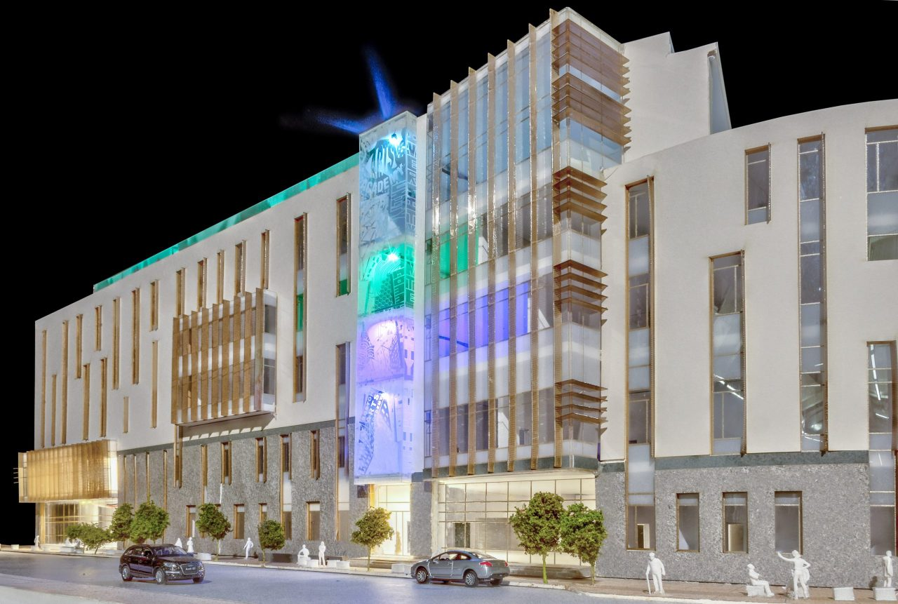 Rendering of building exterior at night